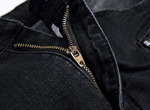 Bassa Vestibilità Con Nero A Slim Ragazzo Stretch Fit Jeans Uomo Vita Vintage Strappati Da ZEn7OfWqO