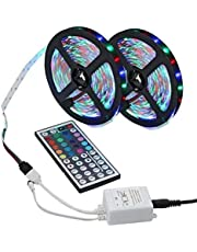 Purcon RGB Color Changing LED Strip Lights with 44 Key Remote Controller Indoor Decor LED String Lights
