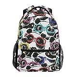 JSTEL Panda With Glasses School Backpacks For Girls Kids Elementary School Shoulder Bag Bookbag