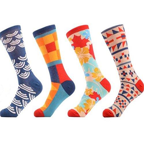 Mens Colorful Dress Socks Fashionable novelty Fun Crew Socks skateboard long socks 4 packs size 6-12 (free size, ()