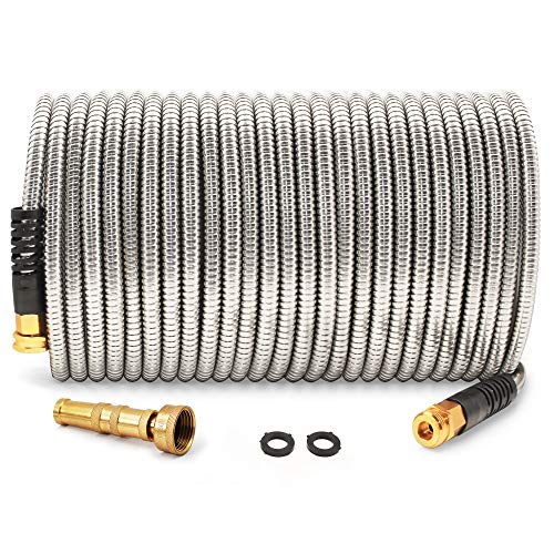 Cesun 75 Feet 304 Stainless Steel Metal Garden Hose with Solid Brass Nozzle, Lightweight Portable Durable Cool to The Touch, Flexible and No Kink, Tangle Puncture Resistant (75 Feet Upgraded)