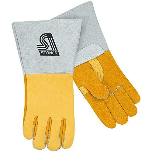 Lined Saddle (Steiner 8502-L Premium Welding Gloves, Saddle Elk skin, Foam Lined Back, Large)