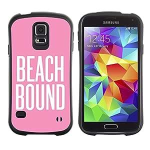 LASTONE PHONE CASE / Suave Silicona Caso Carcasa de Caucho Funda para Samsung Galaxy S5 SM-G900 / beach bound pink white text summer