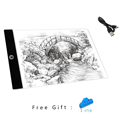 Aorious LED Tracing Light A4 Dimmable Artcraft Light Pad for Artists Drawing,Shetching,Animation,Tattoo USB Powered with Free Gifts K12 by Aorious