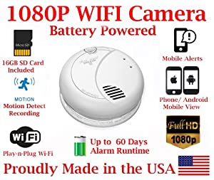 1080P TRUE FULL HD Battery Powered WIFI Smoke Detector Alarm IP Spy Camera P2P Wi-Fi Mobile Hidden Nanny Camera Spy Gadget up to 60 DAY RUNTIME ( with Remote View, Remote Playback and Mobile Alert)