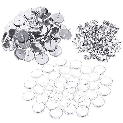PP OPOUNT 40 Pieces Stainless Steel Stud Earring Cabochon Setting Post Cup Fit for 12mm, 40 Pieces 12mm Glass Cabochons and 60 Pieces Butterfly Earring Backs for Jewelry ()