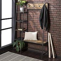 WE Furniture 5 Shelf Entryway Bench Hall Tree Storage Coat Rack, 72 Inch, Walnut