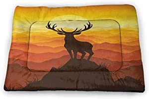 Cat Food Mat Antlers Washable Puppy Pad Deer and Wildlife in Park World Natural Heritage Forest Areas Reindeer Nature Scene Green