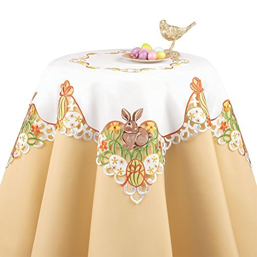 Easter Bunny and Eggs Table Linen with Embroidered Edges and White Base Color - Colorful Flowers and Bows Accents to Decorate Easter Table, Square
