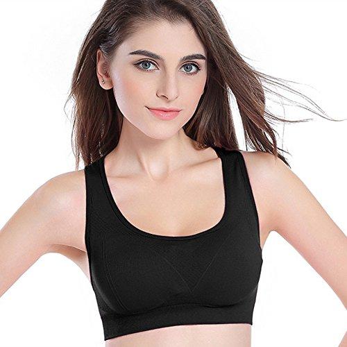 zrong Mujer Deporte Yoga Correr sujetador de ejercicios de fitness aeróbic Dance Chaleco negro