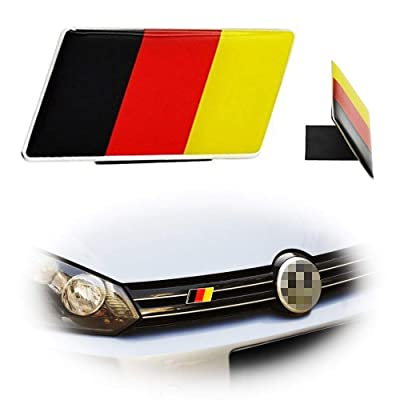 iJDMTOY Set of Germany Flag Emblem Grille Badge Fit Germany Cars Such As Compatible with Audi BMW Mercedes Porsche Volkswagen Front Grill Decoration: Automotive