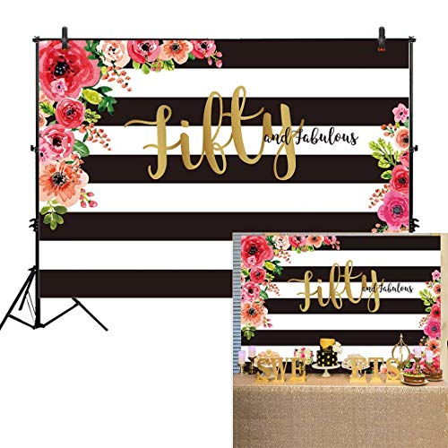 Allenjoy 8x6ft Fifty and Fabulous Backdrops Black and White Stripe Pink Paper Flower Banner Happy 50th Birthday Cheers to 50 Years Old Adult Women Prom Gold Glitter Party Decoration ()