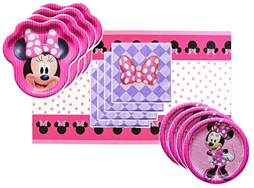 Minnie Mouse Party Supplies Tableware Bundle Pack for 16 Guests - Includes 16 Dinner Plates, 16 Dessert Plates, 16 Dinner Napkins, and 1 Tablecover -