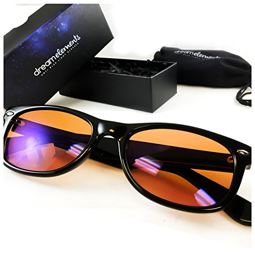Dream Elements Anti Blue-Light Glasses -- UV400 Blue Light Blocking Glasses -- Improve Sleep - Reduce Eye Strain & Fatigue - Lightweight - Durable - Scratch Resistant - Amber Tint - Blue Tint Light