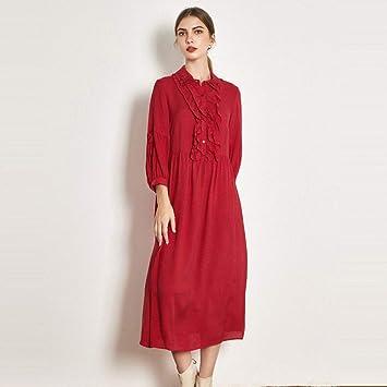 Vestido Vestido de Novia Falda Vestido de Seda Rojo Otoño Corte ...