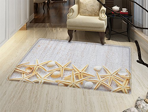 smallbeefly Seashells Floor Mat for kids Sea Shells on Timber Pattern Tropical Honeymoon Getaways Classic Marine Theme Door Mat Increase Pearl Ivory ()