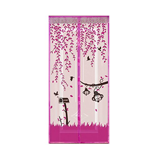 Kope Magnetic Curtain Anti Mosquito Tulle Shower Automatic Door Summer Style Mesh Net, Purple 82.68 x 35.43 x 0.47 inches - Door Waist Seal