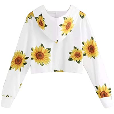 JELLYKIDS Women Hoodie Sunflower Print Crop Top Long Sleeve Floral Sweatshirt Casual Pullover Size L (White) at Amazon Women's Clothing store