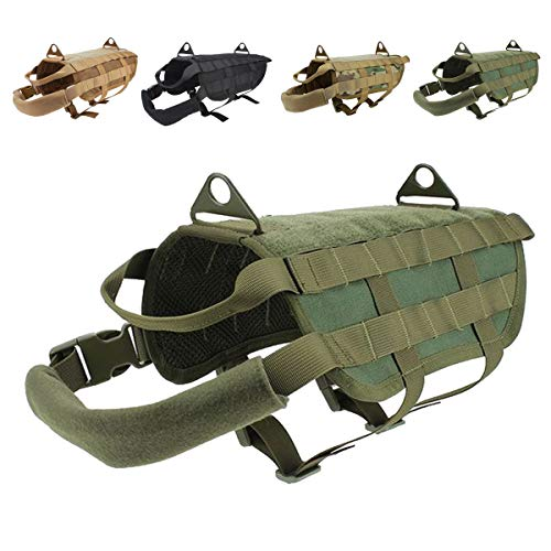 EJG Tactical Dog Harness Vest, with Molle System & Velcro Area, No Pulling Design, Comfy Mesh Padding, Service Dog, Military Training, Hunting, for Medium & Large Dogs (Large, Army Green) ()