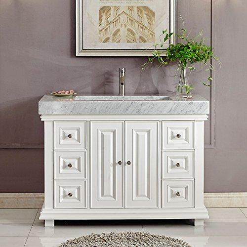 "48"" Carrara White Marble Stone Top Bathroom Vanity Single ..."