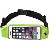 NOKEA Running Belt Waist Pack with Zipper for iPhone 6, 6S, 6 Plus, 6S Plus, Samsung Galaxy S5, S6, S7,Edge, Note 3, 4, 5, LG G3 G4 G5, Water Resistant Expandable Runners Waist Belt Bag (Green)