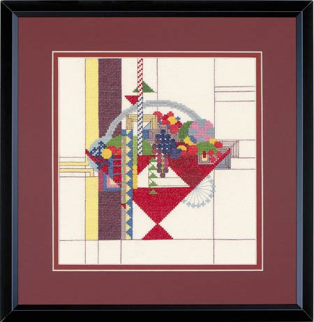 """- Frank Lloyd Wright Counted Cross Stitch Kit- """" May Basket """" Complete Kit # 814. 9 x 9.5 inches."""