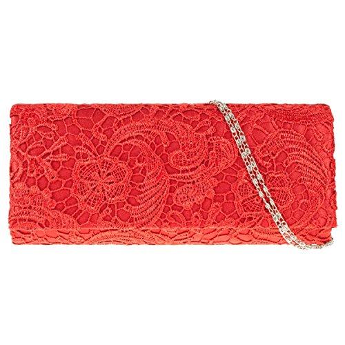 Bolsa Rose Rojo Hombre Floral Damas Bolso Encaje Ukfs De Chicas Boda Diseñador grande Embrague Patron Noche Uv4Wq