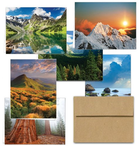 Majestic Scenery- 36 Note Cards - 6 Designs - Blank Cards - Kraft Envelopes Included