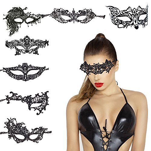Metable Lace Eye Mask Sexy Eyemask Women Make Up Mysterious Mask for Halloween Carnival Masquerade Party Favors Set of 8 (Face Mask Peacock)