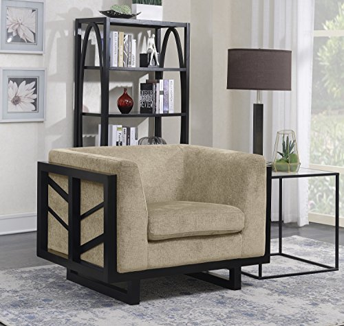 Iconic Home Arianna Accent Club Chair Linen-Textured Upholstery Espresso Finished Lattice Wood Frame, Modern Transitional, Gold