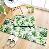 Microfiber Bathroom Rugs Mats 2 Set, Extra-Long Non Slip Absorbent,Green Leaves Floor Kitchen Mat,Machine Washable,40 * 60cm+45 * 120cm
