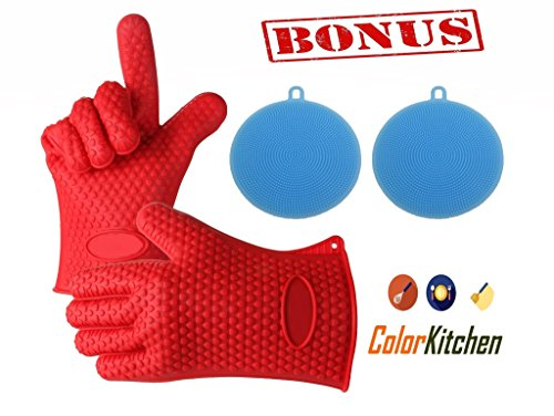 ColorKitchen Oven Gloves Silicone Heat Resistant Oven Mitts BBQ Gloves for Cooking Baking Grilling