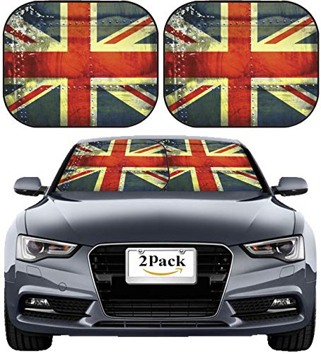 MSD Car Sun Shade Windshield Sunshade Universal Fit 2 Pack, Block Sun Glare, UV and Heat, Protect Car Interior, Image ID: Grunge Union Jack Flag Image 4341287 Stain Resistance Collector Ki