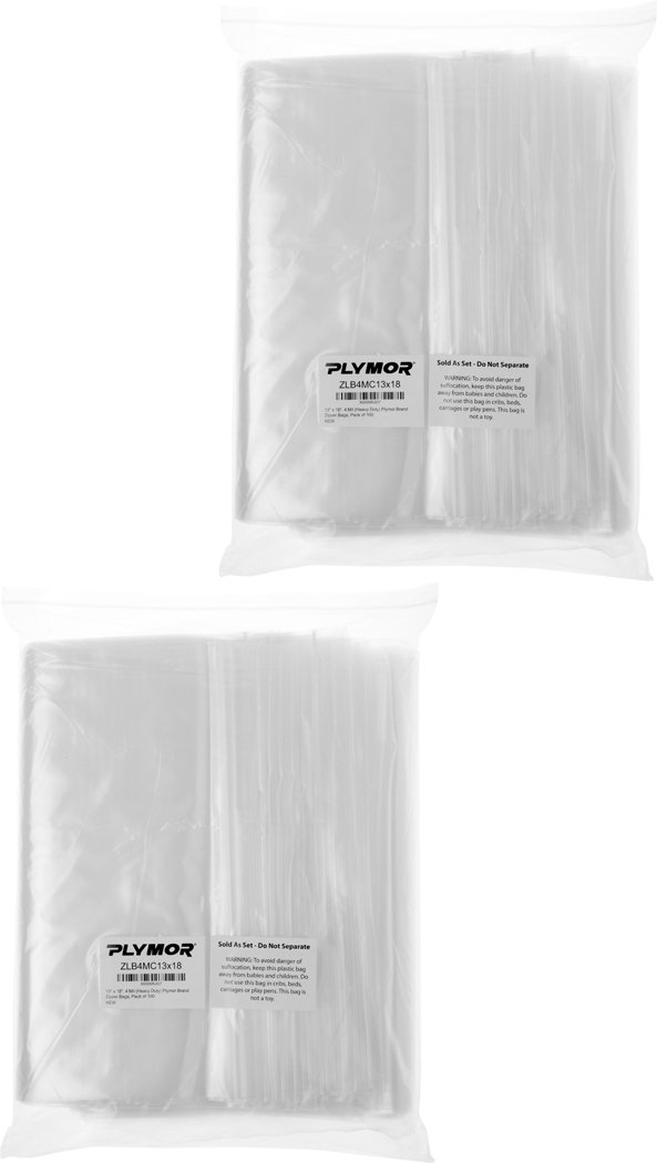Plymor 13'' x 18'', 4 Mil (Pack of 200) Heavy Duty Plastic Reclosable Zipper Bags