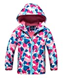 M2C Girls Outdoor Patterned Fleece Lined Light Windproof Jacket with Hood 6/7 Pink