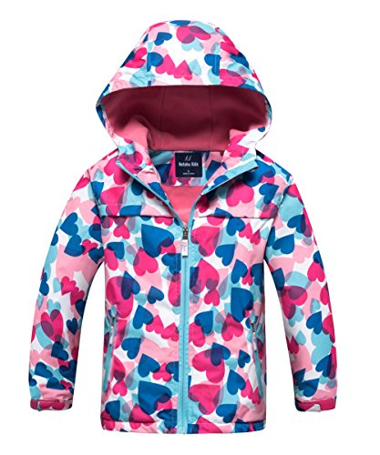M2C Girls Outdoor Patterned Fleece Lined Light Windproof Jacket with Hood 6/7 Pink ()