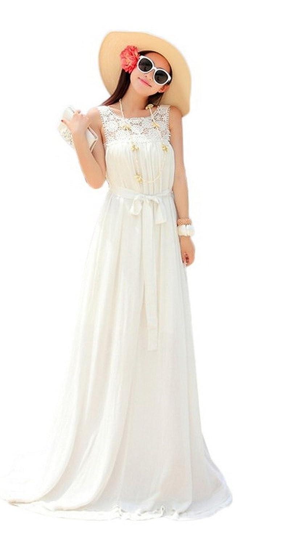 Bigood Elegante Damen Rückenfrei Strandkleid Maxirock Langes Kleid Weiss