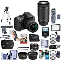 Nikon D3400 DX-Format DSLR Camera With AF-P DX 18-55mm F/3.5-5.6G VR, AF-P DX 70-300mm F/4.5-6.3G ED Lenses, Black - Bundle with 64GB SDxC Card, Camera Bag, Spare Battery, Tripod, Video Light, More