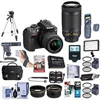 Nikon D3400 DX-Format DSLR Camera With AF-P DX 18-55mm F/3.5-5.6G VR, AF-P DX 70-300mm F/4.5-6.3G ED Lenses, Black - Bundle with 64GB SDxC Card, Camera Bag, Spare Battery, Tripod, Video Light, More