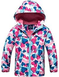 Girls Outdoor Floral Fleece Lined Light Windproof Jacket with Hood