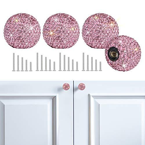 SAVORI Cabinet Knob Crystal Dresser Cupboard Drawer Wardrobe Door Knobs Bling Round Pull Handle with Screws for Home Kitchen Bathroom Office 4PCS (Pink)