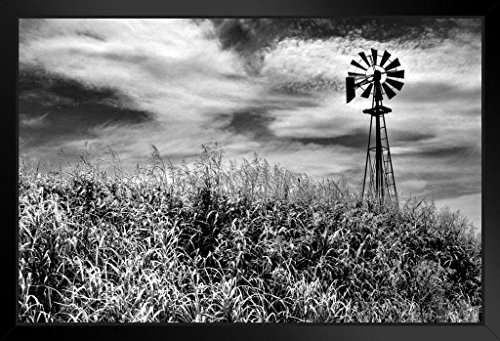 Timeless Windmill Texas Hill Country Rural Scene Photo Art Print Framed Poster 20x14 inch