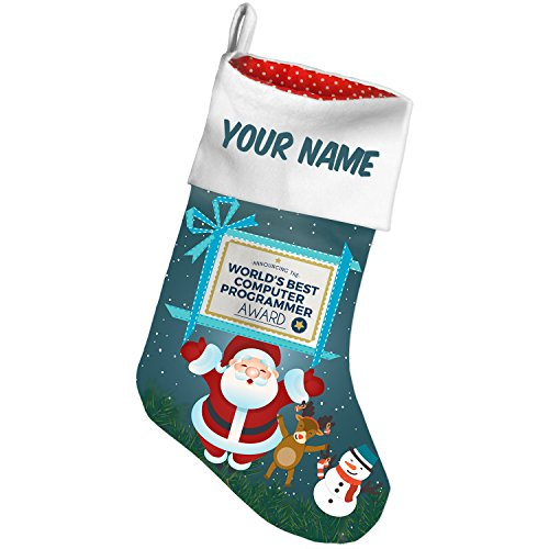 (NEONBLOND Christmas Stocking Worlds Best Computer Programmer Certificate Award Custom Name)