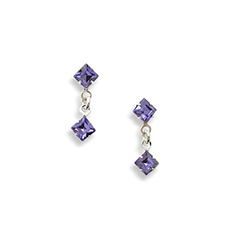 49313371f Diamante Earrings - Unique Tanzanite Square Drop Earrings - Swarovski  Earrings - Crystal Earrings - Silver Plated/Pierced: LJ Designs and Oaks  Jewellery: ...