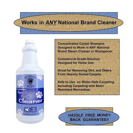 Bubbas Super Steamer Carpet Cleaner. ODOR and STAIN REMOVER CARPET SHAMPOO. 1oz of Solution Per Gallon of Water in Any Rug, Upholstery or Carpet Cleaning Machine by Bubba's Rowdy Friends Pet Supply Company (Image #5)