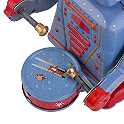 robot decorations Vintage Metal Tin Drumming Robot Clockwork Wind Up Tin Toy Collectible robot decor