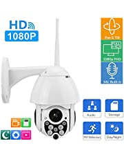 ONVIF Dome Security Camera, 1920x1080P HD Cloud Storage Wireless PTZ IP Video Surveillance Camera IR Night Vision Outdoor Security Cameras System Supports 128G TF Cards for Home Company Factory(AU)