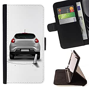 For Samsung Galaxy Note 4 IV cool funny saw car prank hole Beautiful Print Wallet Leather Case Cover With Credit Card Slots And Stand Function