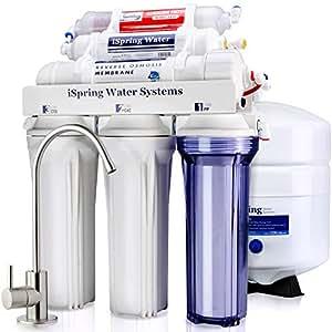 iSpring RCC7AK 6-Stage Superb Taste High Capacity Under Under Sink Reverse Osmosis Drinking Water Filter System with Alkaline Remineralization - Natural pH, White