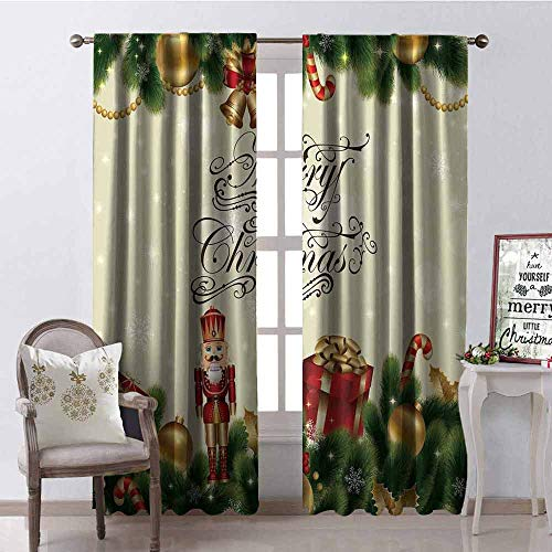 (GloriaJohnson Christmas Blackout Curtain Noel Ornaments with Birch Branch Cute Ribbons Bells Candy Canes Art Image 2 Panel Sets W42 x L63 Inch Golden Red Green)